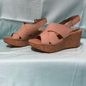 Clarks Leather Cork Wedge Sandals - Annadel Fareda